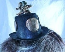 STARR WILDE Steampunk Black Mini Top Hat 3 Copper Babies Coins Key Kangaroo Charm British Coin Fascinator Cosplay Costume Comic Con XS