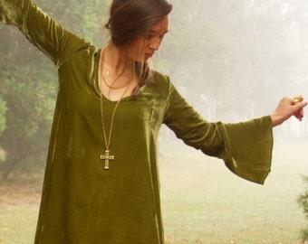 Talitha Green Silk Velvet Dress