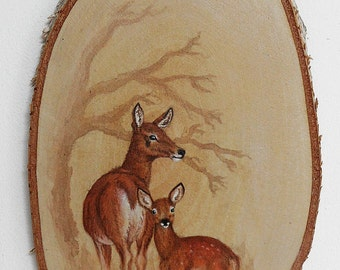 Red deer acrylic painting on wood