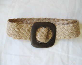 Woven jute belt with wooden buckle / long / vintage