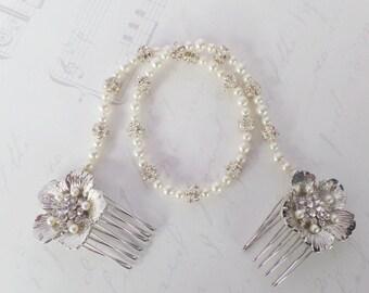 Bridal Browband, Swarovski Pearl Forehead band, Bridal Hair wrap, Bridal Headband, Bun Wrap,  Jessica