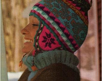 Helmet Hat Pattern Vintage 70s Ear Flap Ski Cap Ski Hat Pattern Peruvian Hat Pattern Helmet KNITTING PATTERN