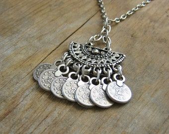 Bohemian Jewelry Ethnic Half Moon Pendant with Coin Fringe Boho Necklace - Silver with Leather Cord or Chain - Aztec, Mayan, Layering
