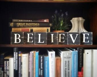 Believe Wood Sign, Believe Art, Wooden Believe Tiles, Inspirational Sign, Inspirational Believe Sign, Believe Wall Decor, Black and White