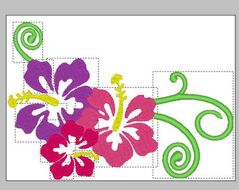 Hibiscus Embroidery Design, Flowers Embroidery Design, Hawaiian flowers design, Flowers and swirls embroidery design