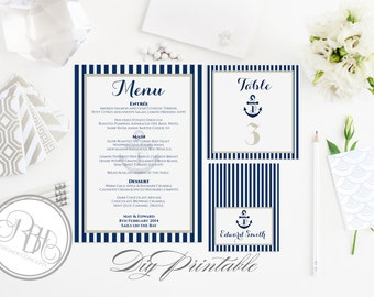 "Nautical Baptism Table Number, Place Card, Menu Templates-INSTANT DOWNLOAD DIY Editable Text-Nautical Navy & White Boat Anchor-""Xena"""