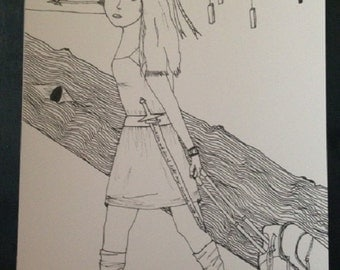 She's One of Us - drawing of a Heather Dale fan - music ink drawing - Heather Dale - bard music - SCA - Camelot - girl with suitcase - sword