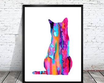 Cat Pink Watercolor Print, cat art, cat print, cat watercolor, watercolor painting, watercolor animal, cat poster, animal print