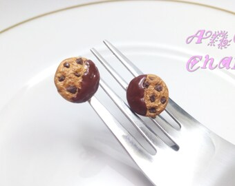 Chocolate Chip Earrings, Cookie Earrings, Studs, Food Earrings, Miniature Food Jewelry