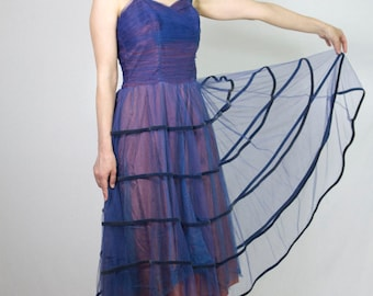 1950s (1930s?) Cobalt/Periwinkle Blue and Pink Full-skirt Tulle Party Dress