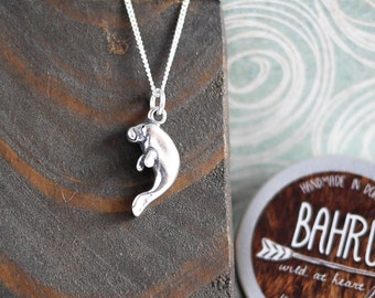 Manatee Silver Necklace • Mothers Day mum wife girlfriend gifts, Sterling silver jewellery, for her, dugong, sea cow, animal, wildlife