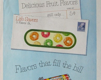 1951 Life Savers Advertising - Flavors that Fill the Bill - FIVE Delicious Flavors Still Only 5 Cents - 1950s Life Savers Candy Ad