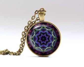 Color necklace Art jewelry Geometry pendant OWA141