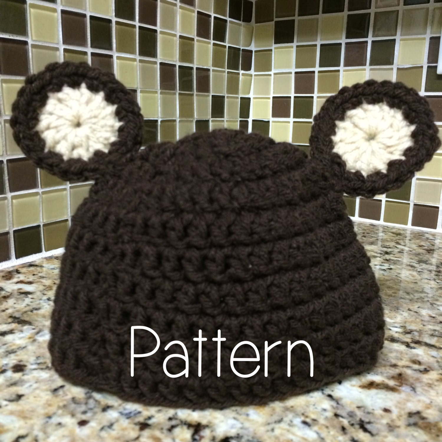 Crochet Baby Teddy Bear Hat Pattern : Baby Hat Crochet PATTERN for Teddy Bear Hat