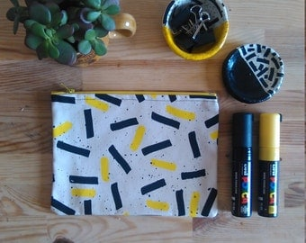 YOUSE X EL-AICH Handmade Screenprinted Zipper Pouch Bag Small