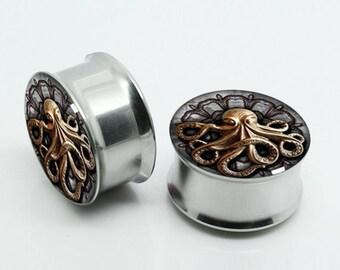 Vintage OCTOPUS  Ear plugs (2pcs pairs),Nebula,Milkway, Resin Pairs Earlets Tunnels, Titanium Screw On Backs