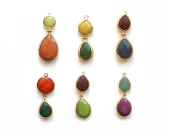 Jade Double Stone Pendant - Gold plated Bezel - 1 pc