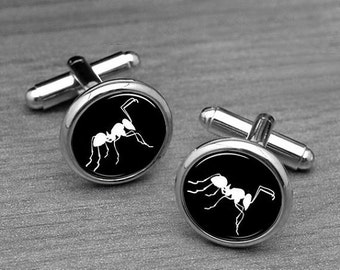 Ants insect Cufflinks,white ants, Silver Men's Cufflinks, insect jewelry,ants tie pin,Tie tacks,Groomsmen Wedding gifts,Personalized gifts
