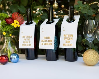 Wine Lover Gift. Funny. Holiday Wine and Spirit Tags - Gold Collection 3-Pack. Letterpress. Foil.