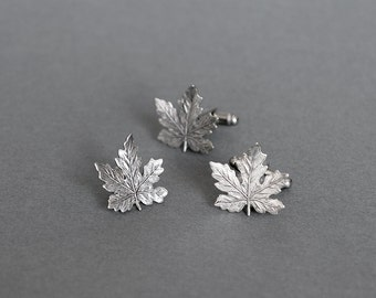 Maple Leaf Cufflinks and Tie Tack Men's Cufflinks Set of 3 Maple Leafs Tie Tack NHL Cuff links Canadian Maple Leafs Antique Silver