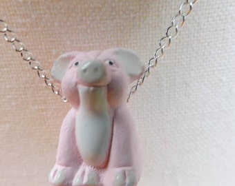Pig pendant, pig jewellery, pink pendant, animal pendant, piglet pendant, piggy pendant, porcine pendant, animal jewellery, farm pendant
