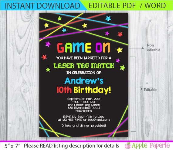 Laser tag invitation laser tag birthday invitations neon for Instant download invitations