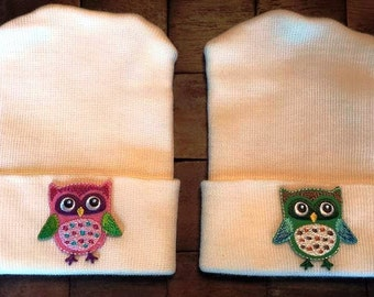 Twin Owl Hospital Hats - Newborn Hospital Hats - Baby Girl Hats - Baby Boy Hats - Owl Hats - Newborn Hats - Twin Hats - Baby Hats -TWINS
