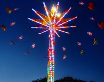 Fair Ride at Night - 4x4 Photo Print - Colorful Rainbow Lights