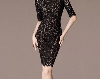 Vintage Black Lace Dress Sheath Style Elegant Floral Pattern Half Sleeve Bridal Dresss Birthday Dress CC219