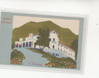 "Hand Made Serigraph Postcard ""Serra Retreat"" Artist Dubosclard Publisher Sheehan Topanga Ca"