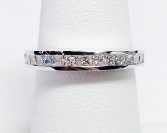 0.25CT-2.00CT Diamond T.W. Princess Cut Diamonds Anniversary Ring Band Wedding Bands Stackable Rings Platinum 18K 14K White Yellow Rose Gold