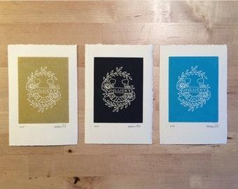 "4"" x 6"" Unlucky Handmade Print"