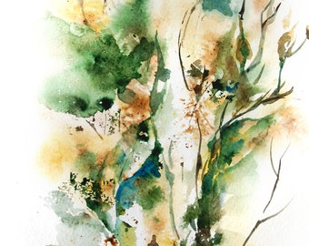 Abstract Watercolor Print, Watercolor Painting Art Print, Nature Inspired Watercolour Art