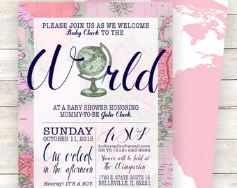 Pink Welcome to the World Baby Shower Invitation, Printable, Girl, Gender Neutral, Travel Theme, Map Shower, Around the World Shower