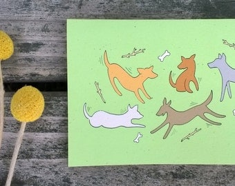 Recycled Stationery Set, 10 Pack of Dog Note Cards, Dog note Card Set