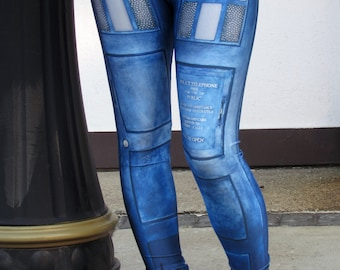 TAFI Police Call Box Leggings - Dr Who Tardis-inspired Sci-Fi TV Costume Yoga Pants Black Milk Galaxy CosPlay Print Jeggings