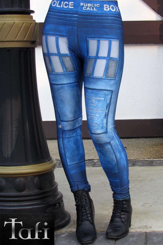 TAFI Police Call Box Leggings Dr Who Tardis-inspired Sci-Fi
