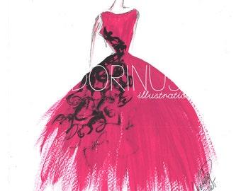 Fashion illustration, Princess art, Princess painting, Fashion art, Fashion wall art, Fashion sketch, Princess drawing, Pink princess art