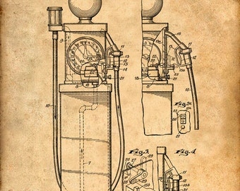 First Gas Pump Patent Print - Patent Art Print - Patent Poster - Wall Art - Automobile - Gas Station Art - Gas Art