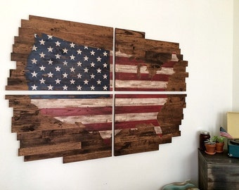 """Reclaimed Wood Planked """"American Flag"""" United States Map Wall Art"""