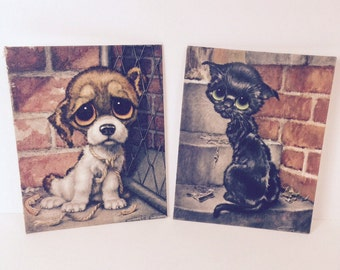 Big Sad Eyes Pitty Puppy Pitty Kitty by Gig Girard Goodenow Set of 2