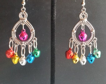 Multicolor bell dangle earrings