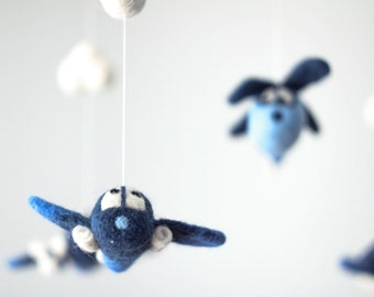 Baby Mobile - Needle Felted Airplane Mobile, Nursery Decor, Baby Shower Gift