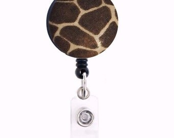 Giraffe print fabric covered retractable ID badge holder -free shipping-ready to ship
