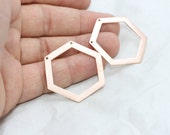 5 Pcs Rose Gold Hexagons, 33,5x0,8mm Geometric Blank , Metal Blank , Geometric Jewelry , ROSE45