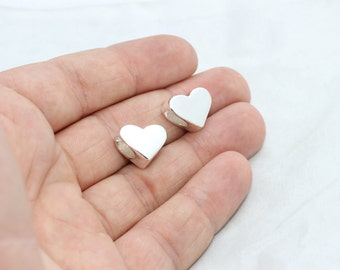 Silver Plated Heart Beads, Large Hole Hearts, 12x15mm , Heart Beads, Heart Pendant, Heart Charms , brclt , BLS