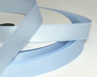 By the Metre Light Blue Satin Ribbon, 10mm Double Sided Satin Ribbon, Silky Ribbon UK Ribbon, Baby Ribbon, Pastel Ribbon, Card Making