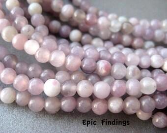 Natural Lilac Stone 4mm Round Smooth Gemstone Beads, DIY Jewelry Design, Craft Supply