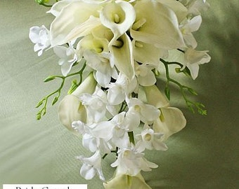 White, offwhite, ivory, cascade /cascading bouquet, calla lily, orchids, Real Touch flowers, silk wedding flowers