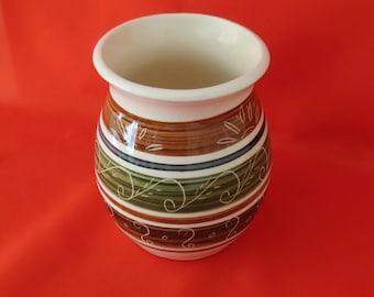 Dragon Pottery Vase - 1960s Ceramic Vase - Small Vintage Vase in Brown and Green